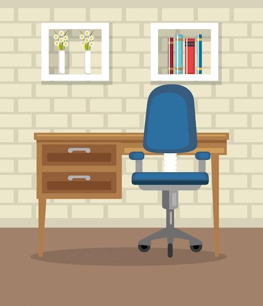 Maison bureau lieu maison Vecteur gratuit