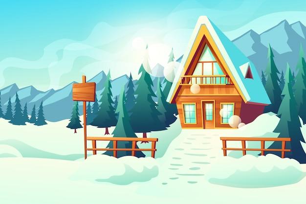 Maison de campagne ou de village dans la caricature des montagnes enneigées Vecteur gratuit