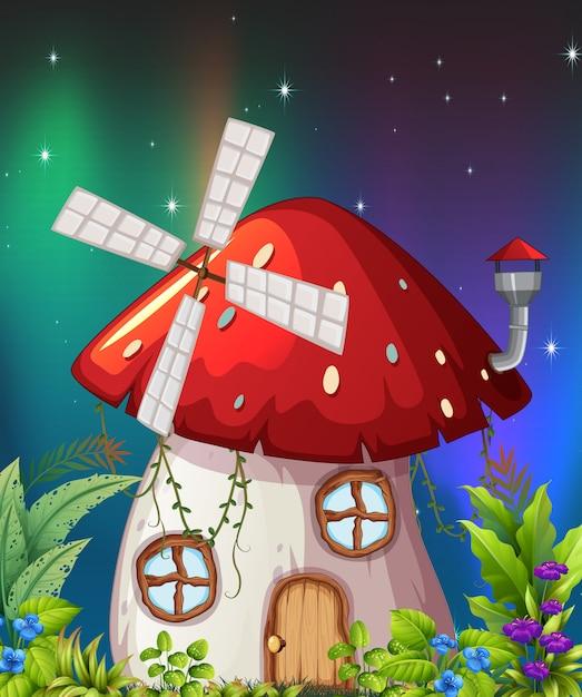 Une maison de champignons dans la nature Vecteur Premium