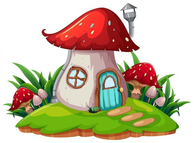 Une maison de champignons fantaisie Vecteur gratuit