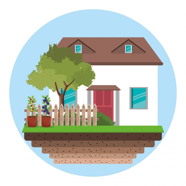 Maison Avec Clôture Arbre Jardin Vecteur Premium
