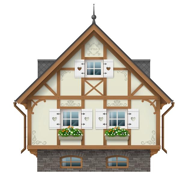 Maison à Colombage Classique Vecteur Premium