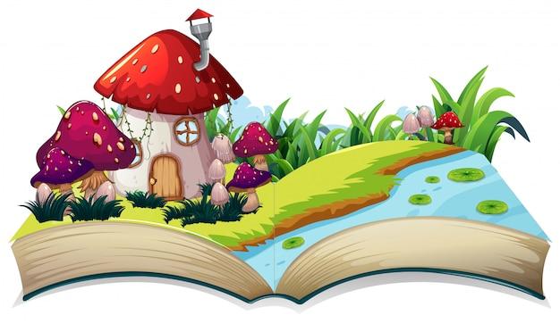 Une maison de conte de fées sur un livre ouvert Vecteur Premium