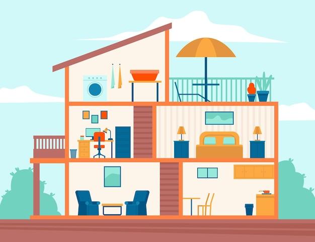 Maison Dans Le Concept De Section Transversale Vecteur gratuit