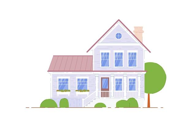 Maison à Deux étages. Immeuble Résidentiel Sur Fond Blanc. Icône De Maison Familiale à Deux étages. Illustration De L'architecture De Banlieue Vecteur Premium