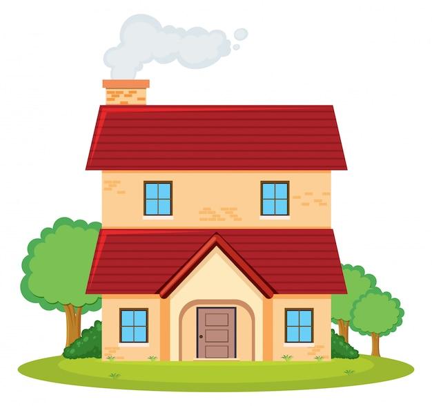 Une maison à deux étages Vecteur gratuit