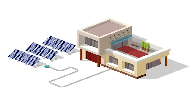 Maison écologique Connectée à Une Usine De Panneaux Solaires Vecteur Premium