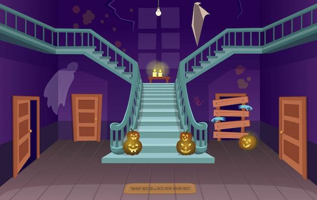 Maison Effrayante Avec Escaliers, Fantômes, Portes, Citrouilles. Illustration Vectorielle De Halloween Dessin Animé. Vecteur Premium