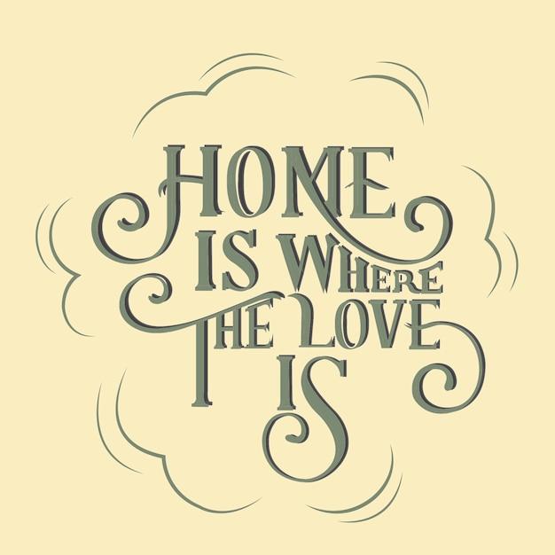La maison est où l'amour est illustration de conception de typographie Vecteur gratuit