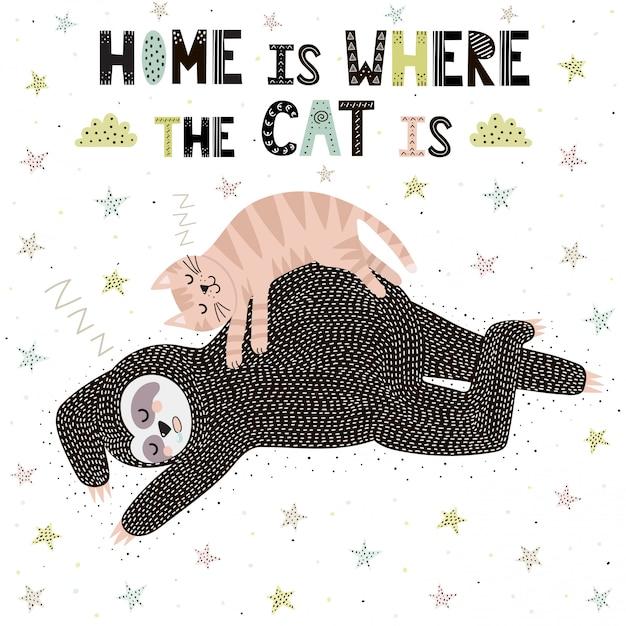 La maison est où le chat est Vecteur Premium