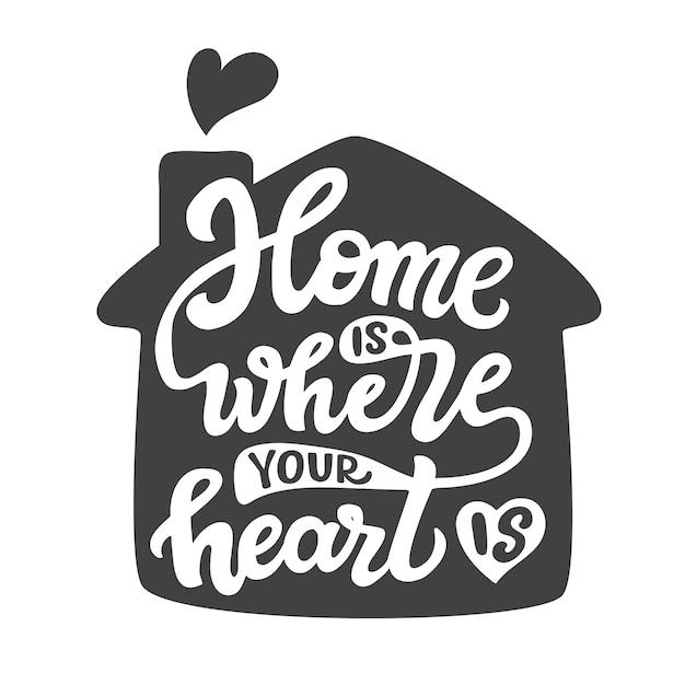 La maison est où ton coeur est, lettrage Vecteur Premium