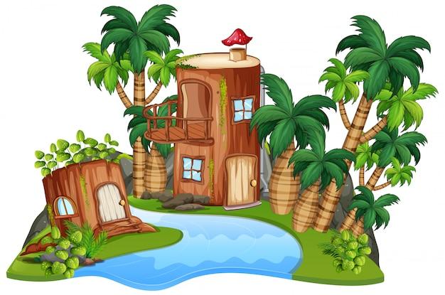 Une maison de fantaisie isolée Vecteur gratuit