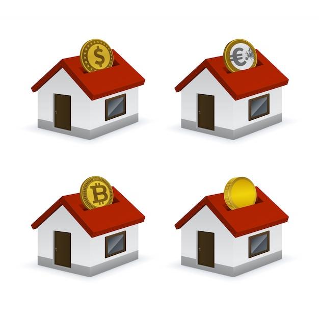 Maison en forme d'icônes de tirelire avec des devises Vecteur Premium