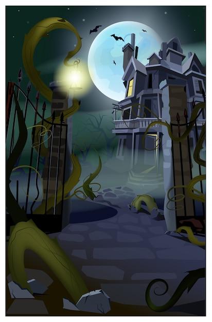 Maison gothique sombre avec illustration de chauves-souris en vol Vecteur Premium