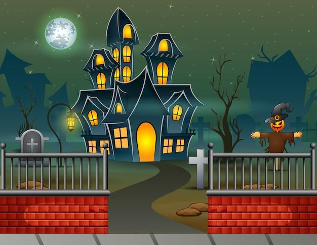 Maison d'halloween dans le fond de la nuit Vecteur Premium