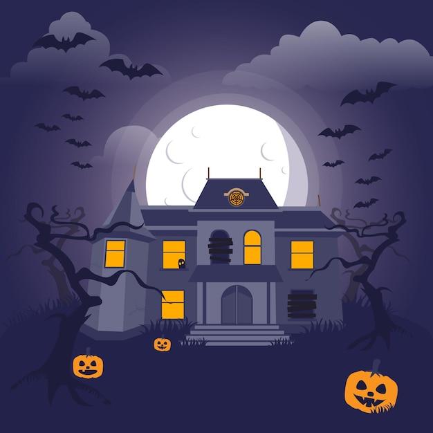 Maison D'halloween Design Plat Vecteur gratuit