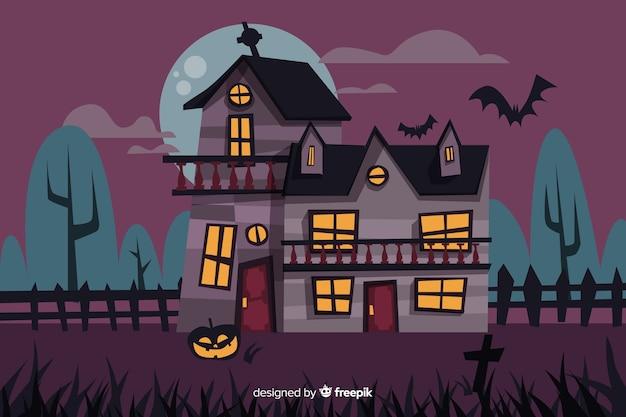 Maison Hantee De Dessin Anime Effrayant Halloween Vecteur Gratuite
