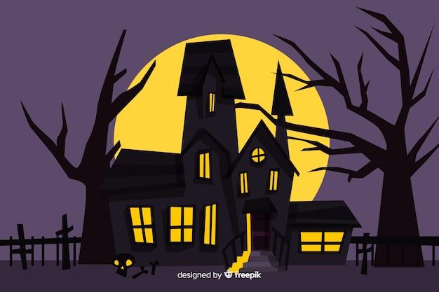 Maison Hantée De Dessin Animé Effrayant Halloween