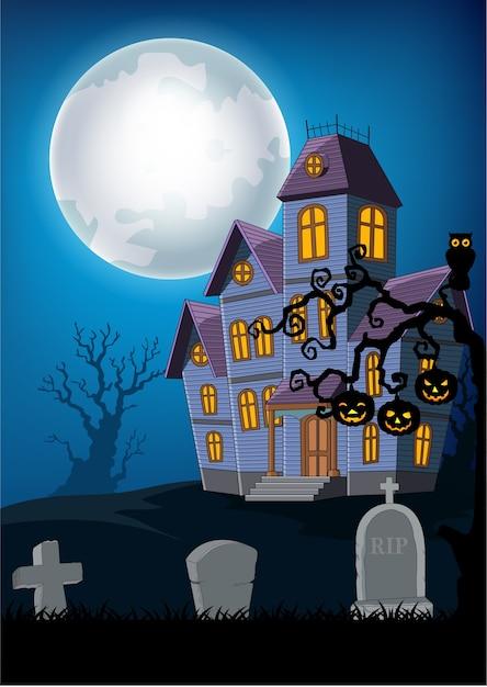 Maison Hantee De Dessin Anime Avec Fond D Halloween Vecteur Premium