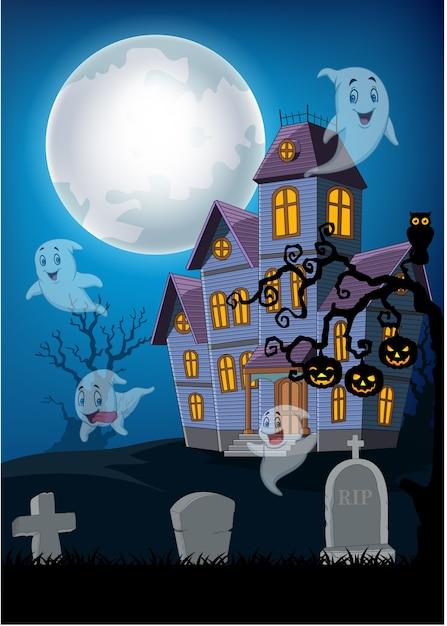 Maison hantée et fantôme avec fond d'halloween Vecteur Premium