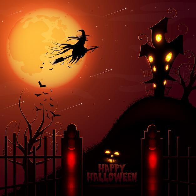 Maison hantée d'halloween et fond de pleine lune rouge Vecteur Premium