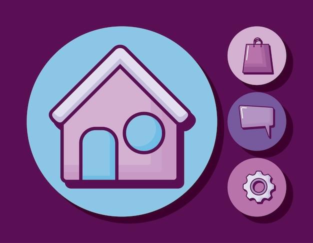 Maison avec des icônes de l'entreprise Vecteur gratuit
