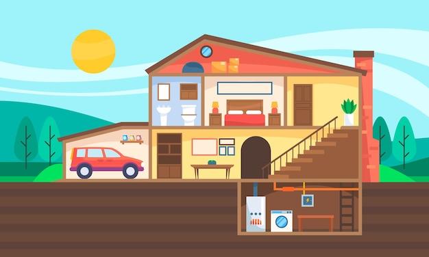 Maison En Illustration En Coupe Vecteur Premium