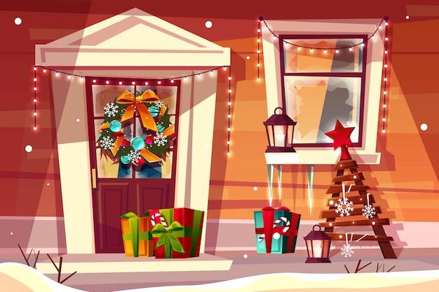 Maison avec illustration de décorations de noël d'entrée de maison en bois avec des lumières de noël Vecteur gratuit