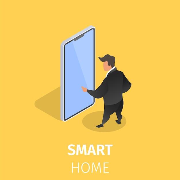 Maison Intelligente Contrôlée Avec Un Smartphone Vecteur gratuit