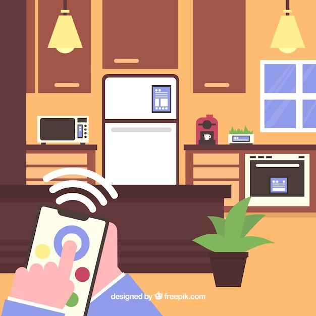 Maison intelligente avec des fonctions dans un style plat Vecteur gratuit