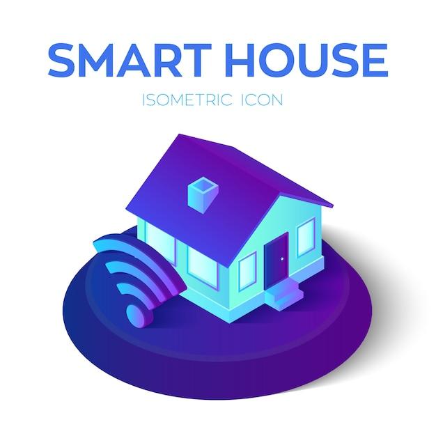 Maison Intelligente. Icône Isométrique De La Maison Avec Signe Wi-fi. Système De Contrôle à Domicile à Distance. Vecteur Premium