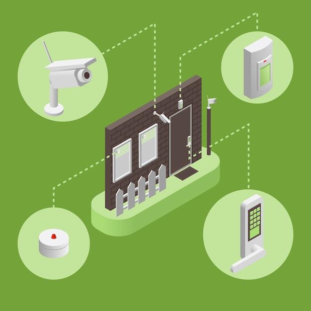 Maison Intelligente, Illustration Infographique Du Système De Sécurité Intelligent. Concept De Système De Sécurité. Vecteur Premium