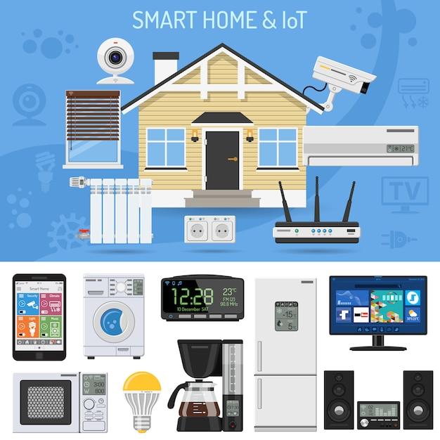 Maison intelligente et internet des objets Vecteur Premium