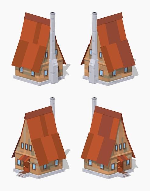 Maison isométrique 3d lowpoly en bois a-frame Vecteur Premium