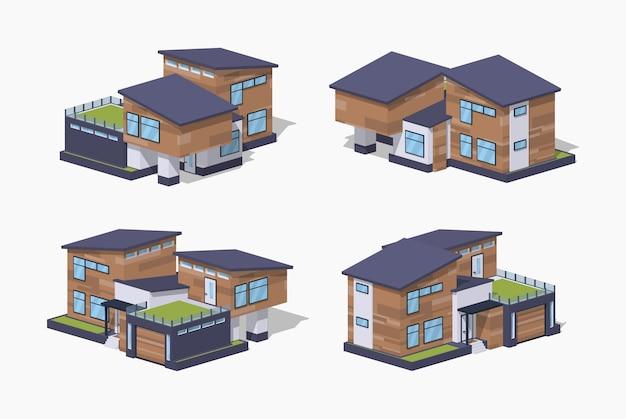 Maison isométrique 3d lowpoly contemporaine Vecteur Premium