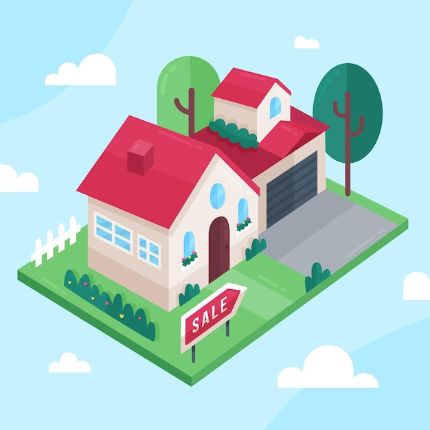 Maison Isométrique à Vendre Vecteur gratuit