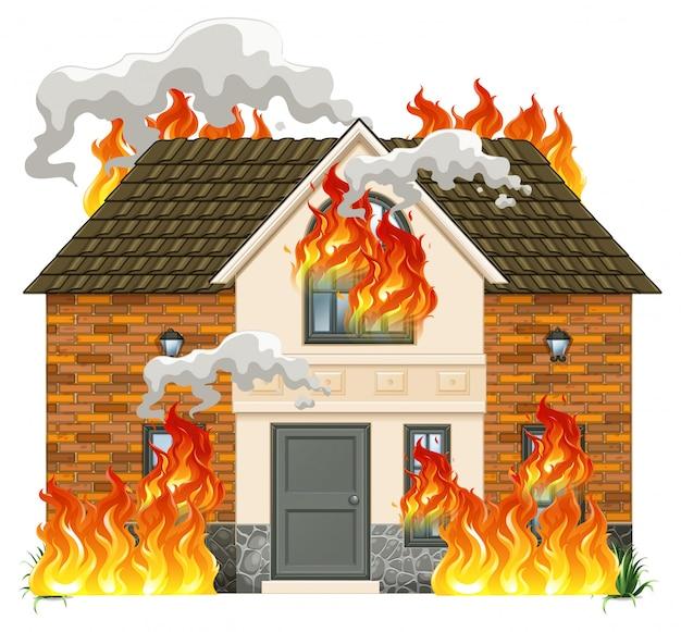 Une maison moderne en feu Vecteur gratuit