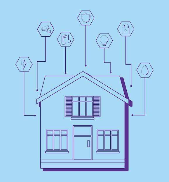 Maison moderne avec des icônes connexes maison intelligente ...