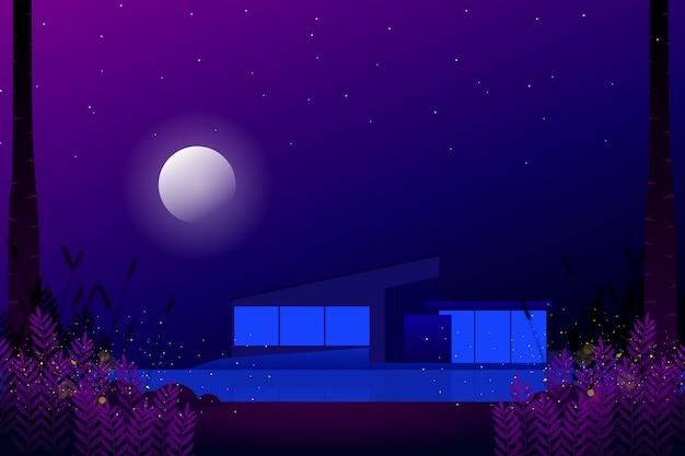 Maison Moderne Avec Nuit étoilée Et Illustration De Paysage De Pleine Lune Vecteur Premium