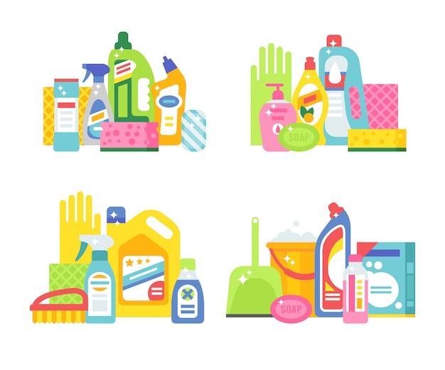 Maison nettoyage hygiène et produits plats vector icons set Vecteur Premium