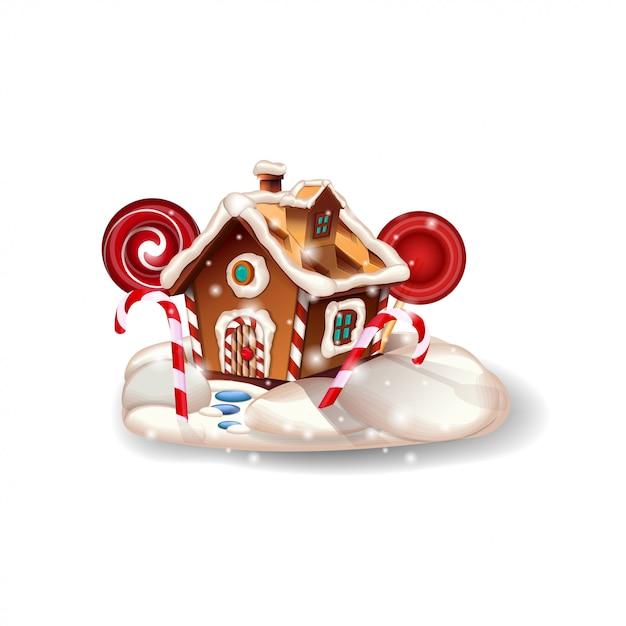 Maison de pain d'épice de noël avec la crème fouettée et des bonbons isolés sur fond blanc pour votre créativité Vecteur Premium