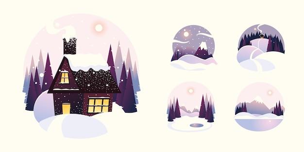 Maison De Paysage D'hiver Avec Illustration De Montagnes Et De Pins Vecteur Premium