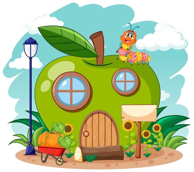 Maison De Pomme Verte Et Ver Mignon Dans Le Style De Dessin Animé De Jardin Sur Fond De Ciel Vecteur gratuit