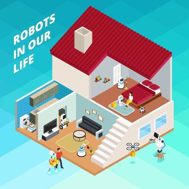 Maison Avec Des Robots Pour Le Ménage Vecteur gratuit
