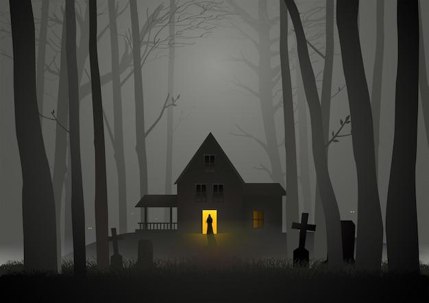 Maison spooky dans les bois Vecteur Premium