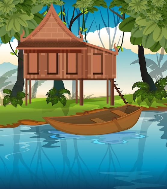 Maison traditionnelle thaïlandaise dans la nature Vecteur gratuit