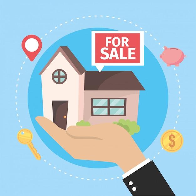 Maison à vendre à la main d'homme d'affaires Vecteur Premium