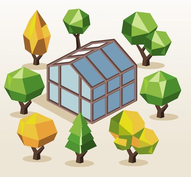Maison verte et arbres Vecteur Premium