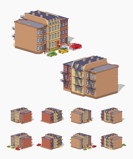 Maison de ville 3d lowpoly isometricbrownstone Vecteur Premium