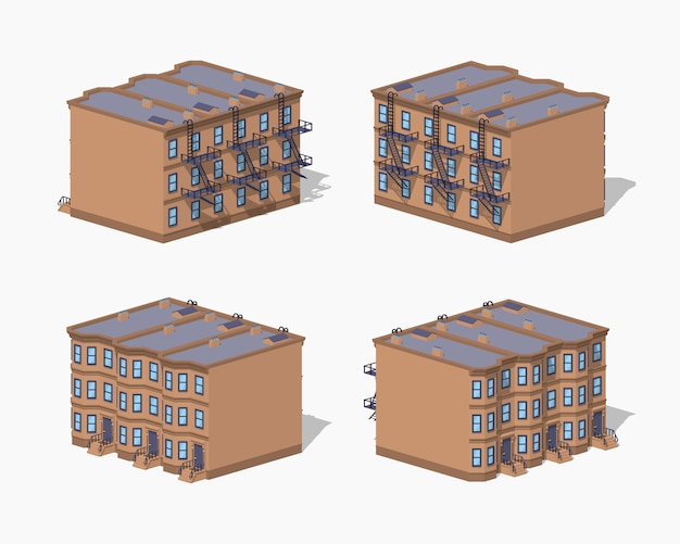 Maison de ville low poly brownstone Vecteur Premium